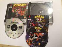 2 x pal PLAYSTATION 1 PS1 PSone GAMES Crash Bandicoot 1 + 2 Cortex Strikes Back