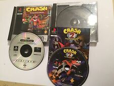 2 X PAL PLAYSTATION 1 PS1 PSone giochi CRASH BANDICOOT 1 + 2 Cortex colpisce ancora
