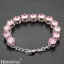 "Chrismas Gift 75% OFF Romantic Pink Topaz Kunzite Sterling Silver Bracelet 7.75"""