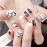 Marble Press On Nails Rivet Designed Artificial False Manicure Finger Art Decors