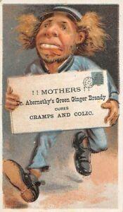 SAN FRANCISCO, CA, DR. ABERNETHY'S GREEN GINGER BRANDY MEDICAL TRADE CARD 1880