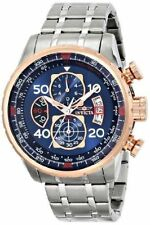 Invicta Aviator 17203 Mens 18k Rose Gold Ion Plated Blue Chronograph Watch
