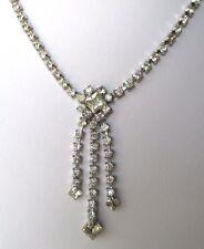 Ancien collier bijou vintage couleur argent cristal imitation diamant  348