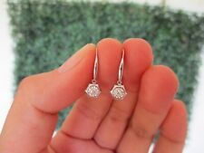 .058 CTW Diamond Dangling Earrings 18k White Gold E384 sep