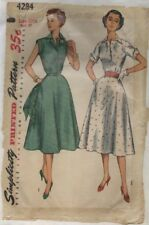 Simplicity 4284 Sewing Pattern VTG 1953 One-Piece Short Sleeved Dress Size 20½