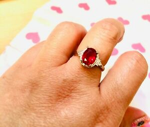 3ct look oval ruby(CZ)& DIAM0NDS(CZ) ring size N 7