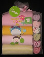 Baby Gift Pack Shower Girls Set 4 Rompers 6 Facewashers Sz 6 Mth