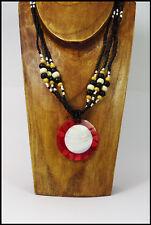 Halskette rot Naturmaterialien Muscheln Holzperlen Anhänger Ethno