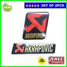 Motorbike Exhaust Stickers AKRAPOVIC 2pcs SET Heat Resistant ALUMINIUM Decals