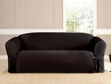 2 PC MICRO-SUEDE FURNITURE SLIPCOVER SOFA & LOVESEAT COUCH COVERS, BROWN