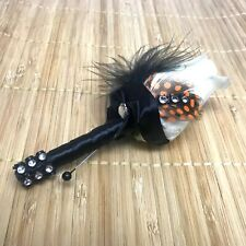 Real Touch Ivory off White Rose Bud Boutonniere Orange dot feather Wedding