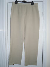 LADIES SANDY BROWN / BEIGE LINEN TROUSERS SIZE 16 / 44 FAULTY - NEW ZIP REQUIRED