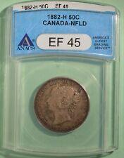 1882-H Newfoundland 50 Cents - Graded ANACS EF-45 - serial 2939389