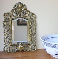 Antique French Rococo Brass Wall Mirror. 19th Century Victorian With Cherub Mask