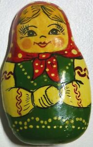Rare vintage Hand Painted Russian Lacquer Babushka Doll Pin/Brooch Clay Folk Art