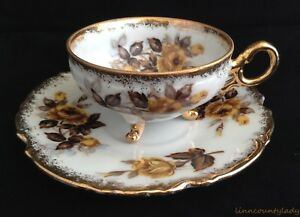 Napco Hand Painted Yellow Gold Roses 3 Toed Cup & Saucer Heavy Gold Trim FR SHP