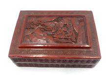 """Antique vintage Chinese cinnabar box 5"""" ½ x 3"""" ¾ x 2"""""""