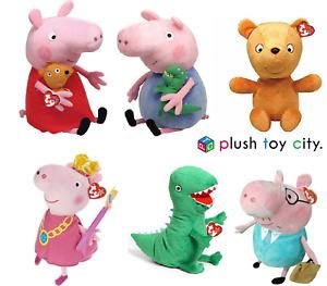 "TY PEPPA PIG, GEORGE, PEPPA PRINCESS, DADDY PIG, PEPPA'S TEDDY - SOFT TOYS, 10"""