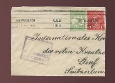 AUSTRALIA 1916 WW1 CENSOR BOXED to SWITZERLAND..ROO +KG5 HEAD +HAYMARKET MACHINE
