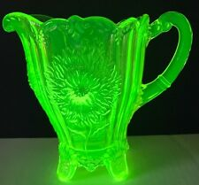 Vintage Dahlia Pattern Pitcher By Mosser Glass Green Depression Glass
