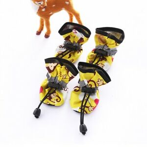 4Pcs Dog Cat Rain Protective Boots Waterproof Puppy Anti-slip Shoes Cute Booties