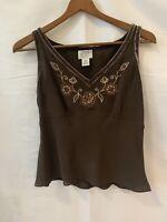 Ann Taylor LOFT Petites Sz 4P Brown Floral Sequin SILK Sleeveless Blouse Shirt