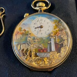 Charles Reuge Double Automation Pocket Watch Moving Face Musical Watch.