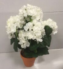 """New Design Hydrangea Bush Potted Artificial Pot Plant 'White' 15"""""""