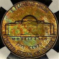 Rainbow Toned 1952 D NGC MS65 Jefferson Nickel 5c Two Sided Color PQ