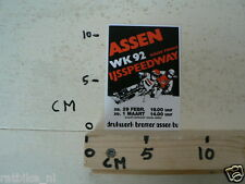 STICKER,DECAL ASSEN IJSSPEEDWAY HALVE FINALE WK 1992 HOLLAND