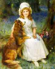 A Young Girl and Her Dog by George Sheridan Knowles - Pet Collie 8x10 Print 1324