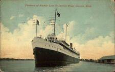 Detroit MI Steamer Ship Tionesta Anchor Line Used 1913 Postcard