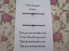 Sisters Wish Bracelet Message Tibetan Heart Charm Family Gift Anklet Sister