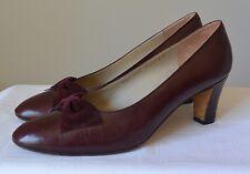 Vintage SALVATORE FERRAGAMO Burgundy Leather Classic Pumps Heels Suede Bow 8 C M