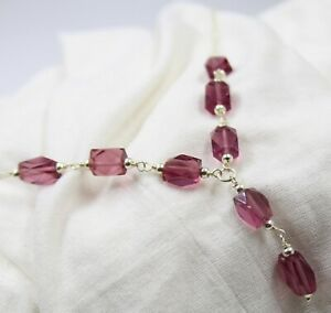 """Pink Stone Handmade 16.25+2"""" Necklace 925 Sterling Silver Jewelry Mother Gift"""