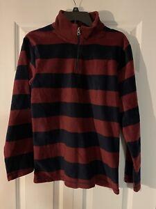 The childrens place half zip sweatshirt boys xxl 16 red navy striped