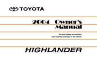 2004 Toyota Highlander Owners Manual User Guide