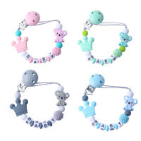 Personalised Wooden Dummy Clip Chain Pacifier Baby Gift Shower Silicone Dummy
