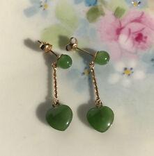 Jade Heart Shape Earrings Set 2.9CT Dangle Drop 14K Gold Imperial Green Chinese