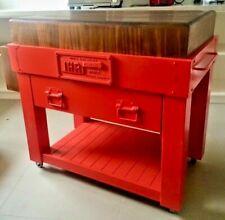 "IHR Aust Quality red BUTCHERS BLOCK island bench Trolley 6""THICK   on MASTERCHEF"
