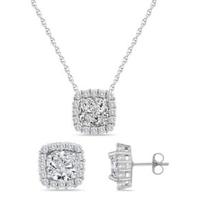 White Sapphire Necklace Cushion Cut Set with Earring & Pendant 18""