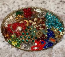 Art Deco Art Nouveau Czech Jewelry Lot-Glass-Plastic-Coral-Rhinestone-Enamel