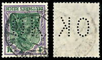 """ALLEMAGNE / DEUTSCHLAND - 1921 - Mi.150 mit FIRMENLOCHUNG """"OK"""" gebraucht BERLIN"""