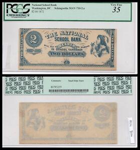 Washington DC, College currency, 1872, $2 PCGS 35, SCH Mav-710-2.a, Nice