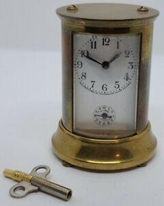 Antique Working Waterbury Clock Co. Victorian Round Brass Carriage Alarm Clock