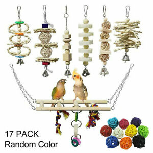 17PCS Bird Toys Parrot Swing Toys Chewing Hanging Bell Cockatiel Cage Toy Set