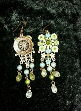 Gorgeous copper Tone Cream Green Beaded Crystal Dangle 🌸's  Statement Earrings