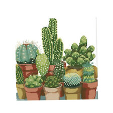 Cross Stitch Embroidery Kits DIY Needlework - Cactuses(Stamped) 14CT 34x35cm