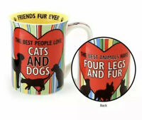 Enesco Our Name is Mud  CAT DOG Animal Lover Paw print Mug Cup 16 oz Coffee Tea