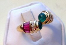 Hand crafted 14k yellow gold  ring with emeralds, rubies and diamonds sz7 TGW2ct